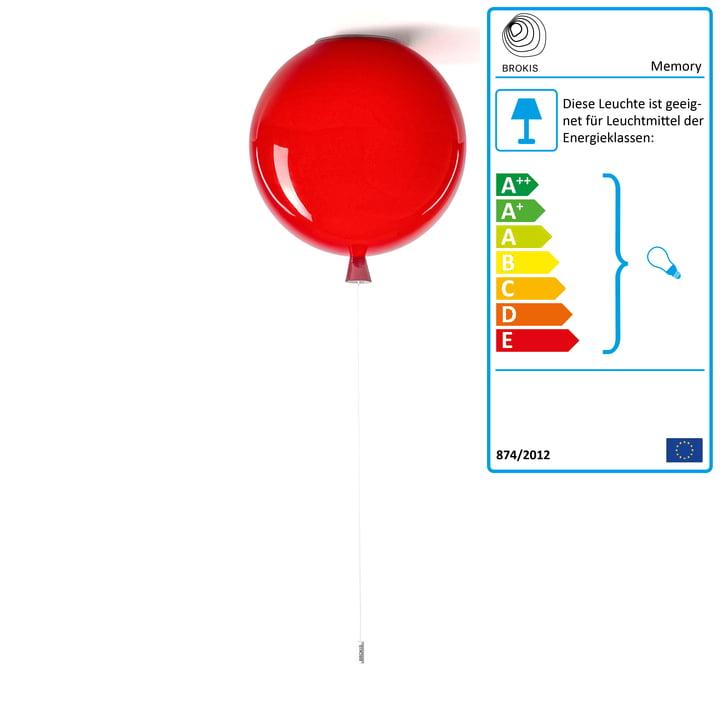 Memory Deckenleuchte von Brokis - Ø 40 x H 41,5 cm, rot / Kabel weiß