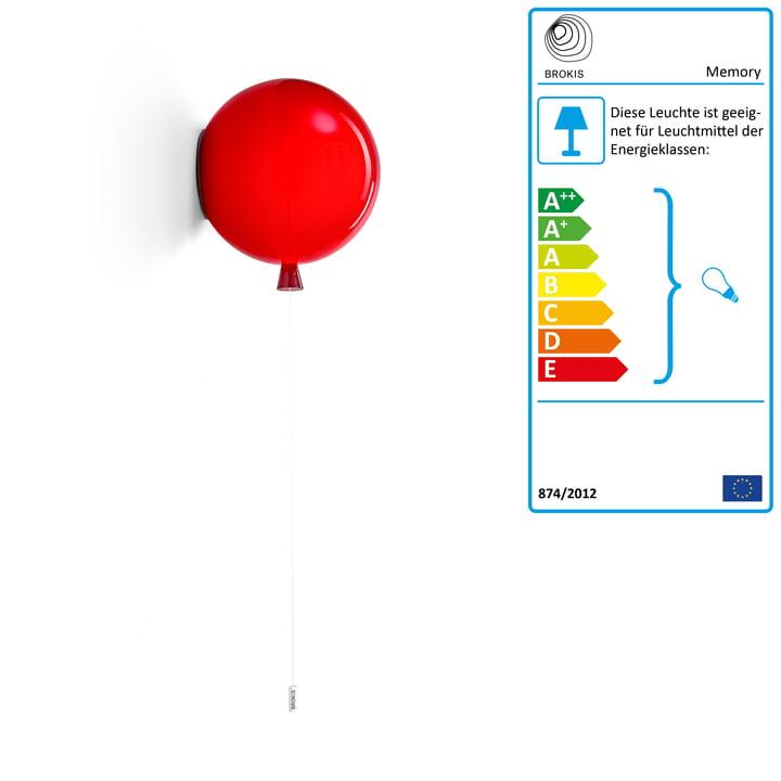 Memory Wandleuchte von Brokis - Ø 25 x H 27,5 cm, rot / Kabel weiß