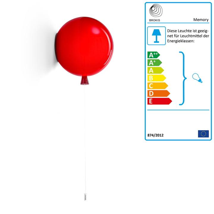 Memory Wandleuchte von Brokis - Ø 30 x H 32,5 cm, rot / Kabel weiß