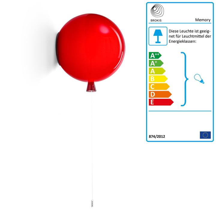 Memory Wandleuchte von Brokis - Ø 40 x H 41,5 cm, rot / Kabel weiß