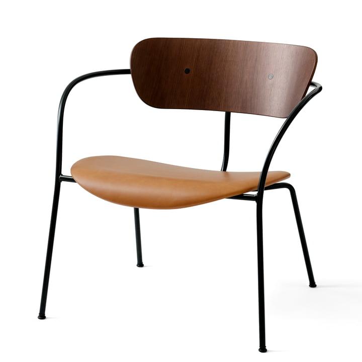 Pavilion Loungechair AV 6 von &tradition in schwarz / Silk Leder Cognac / Walnuss lackiert