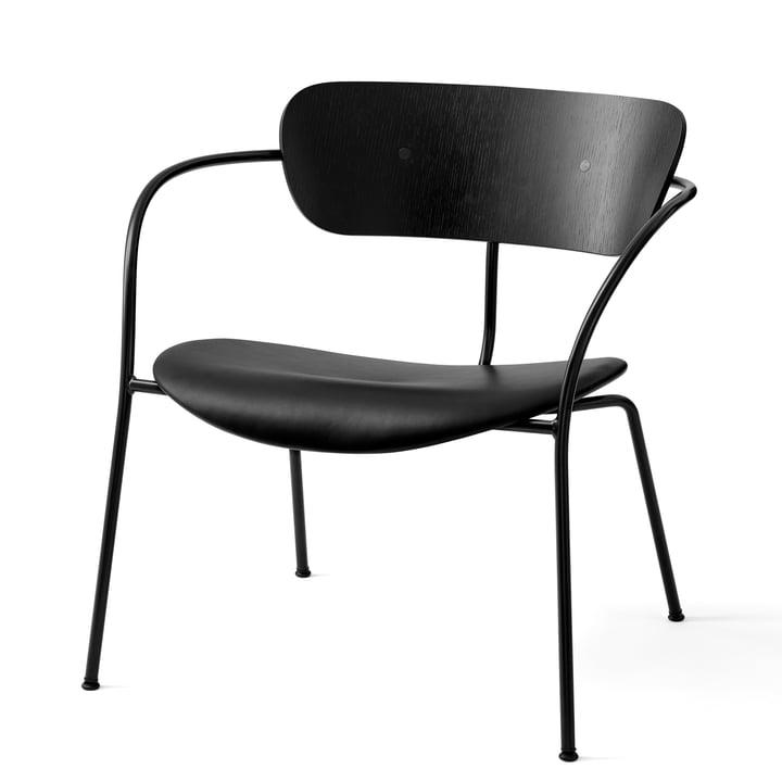 Pavilion Loungechair AV 6 von &tradition in schwarz / Silk Leder schwarz / Eiche schwarz lackiert