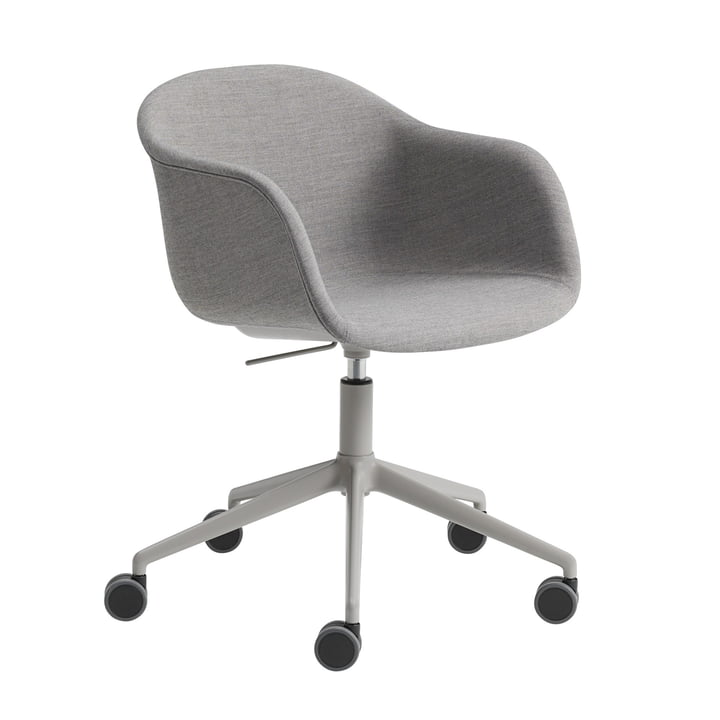 Fiber Büro-Armlehnstuhl Swivel Base von Muuto in Aluminium grau / grau (Remix 133)