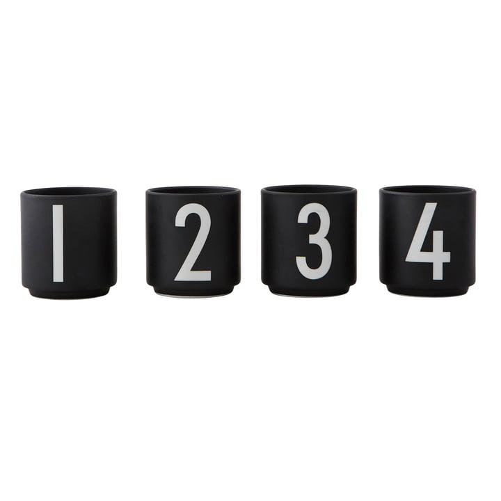 Porzellan Mini-Becher (4er-Set) von Design Letters in schwarz