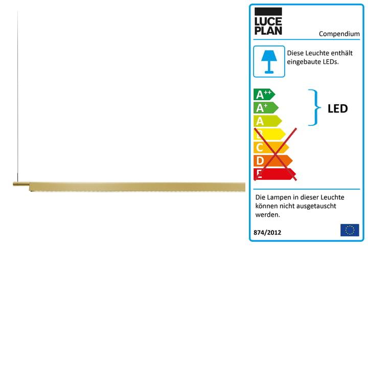D81BW Compendium LED Pendelleuchte von Luceplan - Messing inkl. Baldachin, weiß