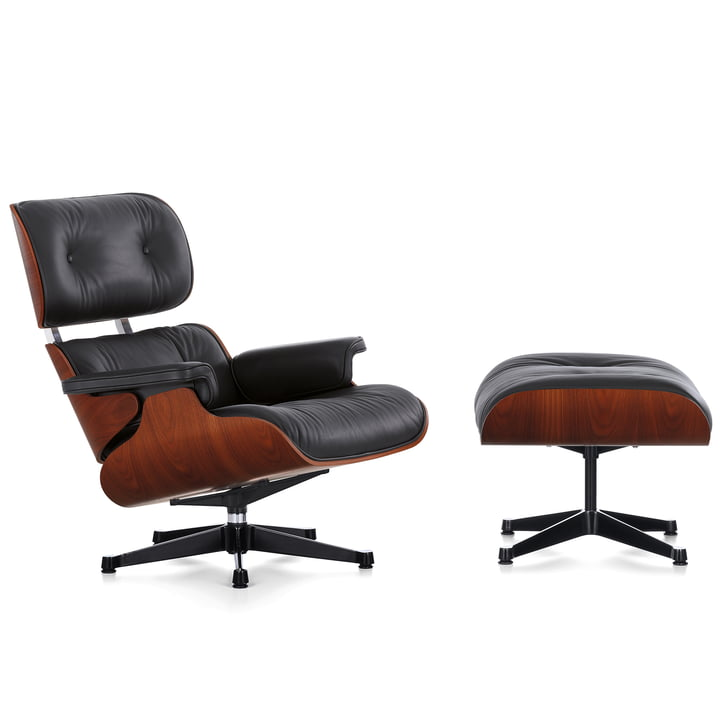 Vitra - Eames Lounge Chair XL & Ottoman Mahogany, Sapeli Mahagoni / Leder Premiuim nero / UG poliert, Seiten schwarz, neue Maße, Filzgleiter