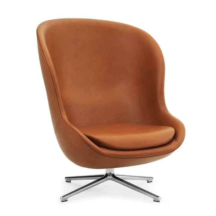 Hyg Lounge Chair Swivel Tilt High von Normann Copenhagen - Aluminium / Ultra Leather (Brandy 41)