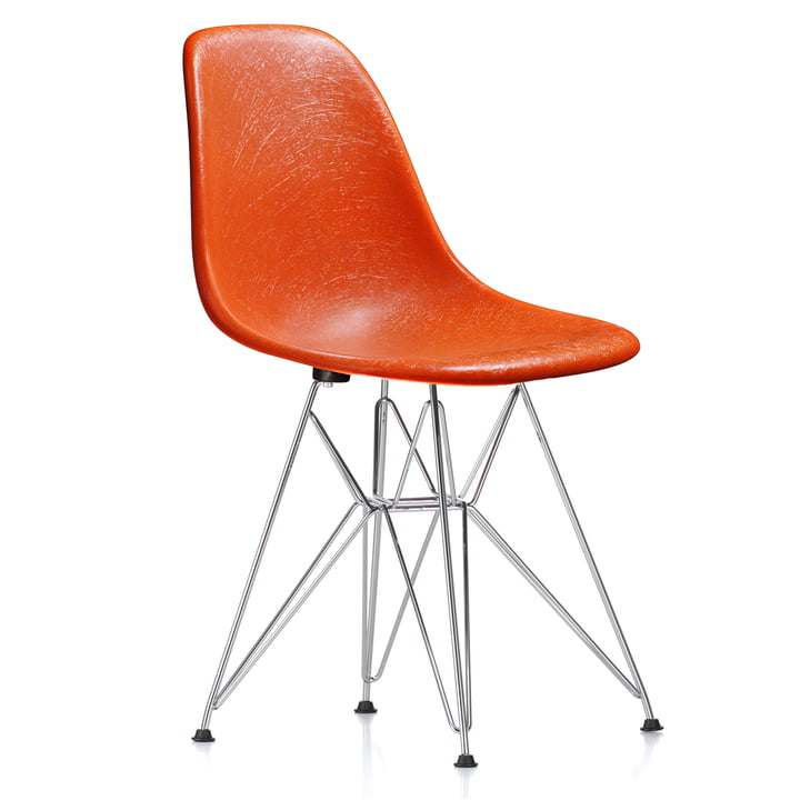Eames Fiberglass Side Chair DSR von Vitra - verchromt / Eames red orange