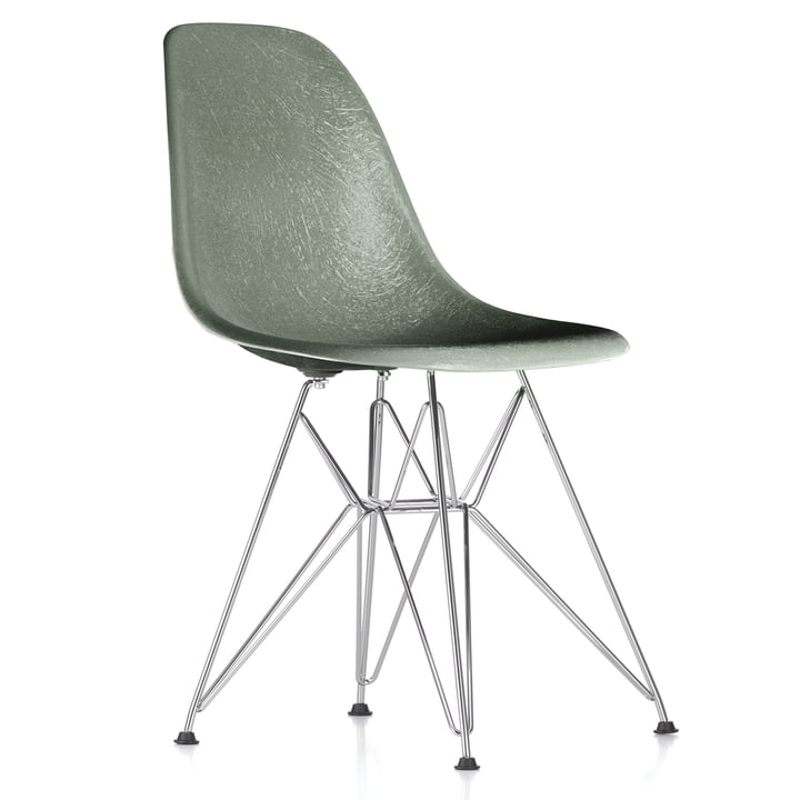 Eames Fiberglass Side Chair DSR von Vitra - verchromt / Eames sea foam green