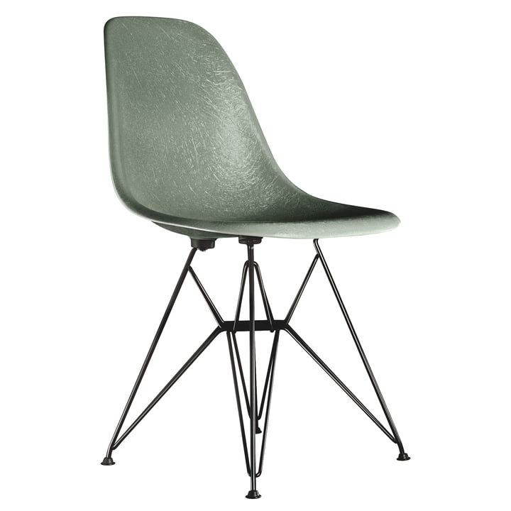 Eames Fiberglass Side Chair DSR von Vitra - basic dark / Eames sea foam green