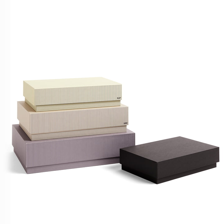 Hay - Box Box Desktop Pappschachteln, stripe grey (4er-Set)