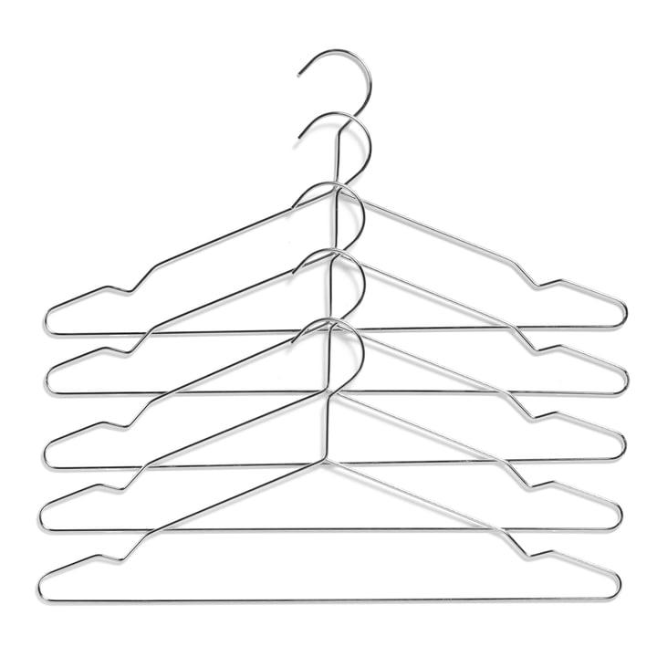 Hang Kleiderbügel von Hay in silber (5er-Set)