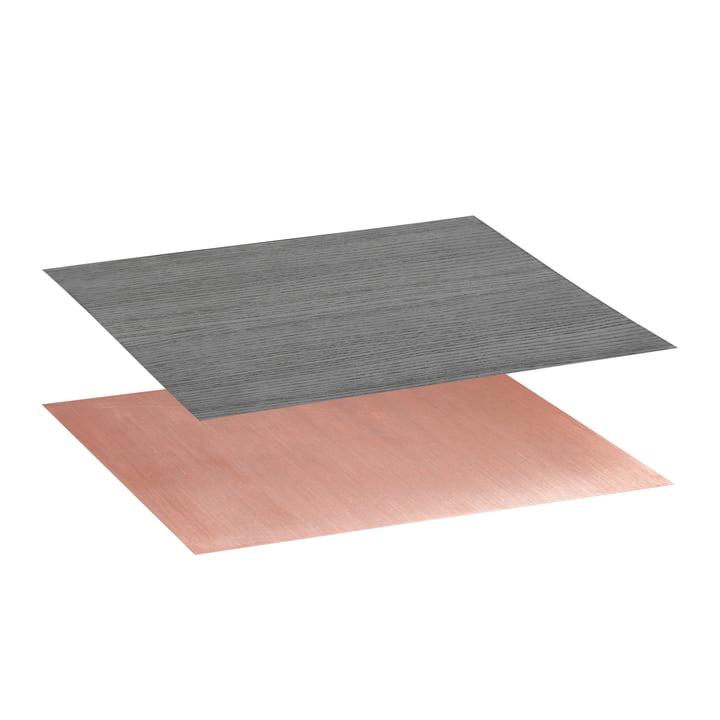 Tischplatte für Twin Beistelltisch von by Lassen in Esche schwarz gebeizt / Kupfer