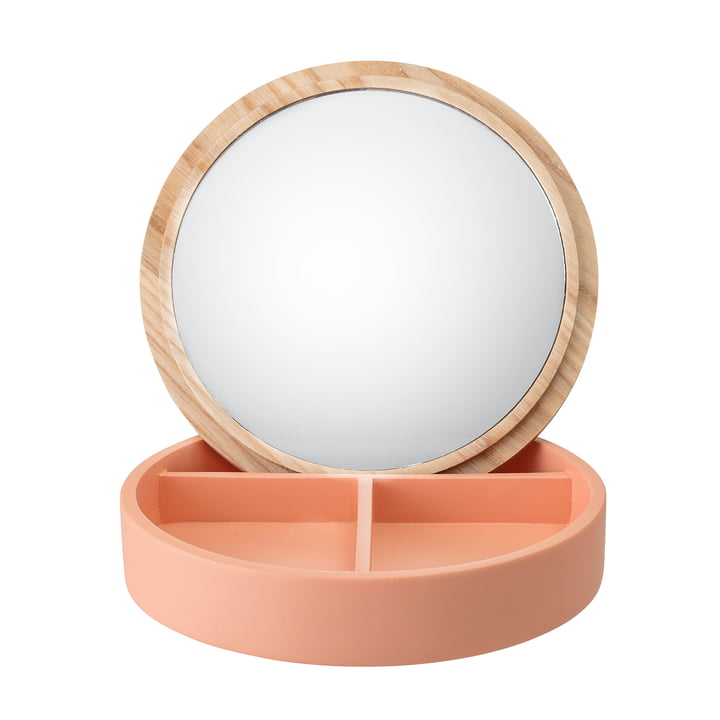 Aufbewahrungsbox mit Spiegel Ø 13.5 cm von Bloomingville in orange