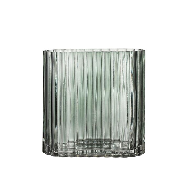 Riffle Glas-Vase L 18 x H 18 x T 9 cm von Bloomingville in grün