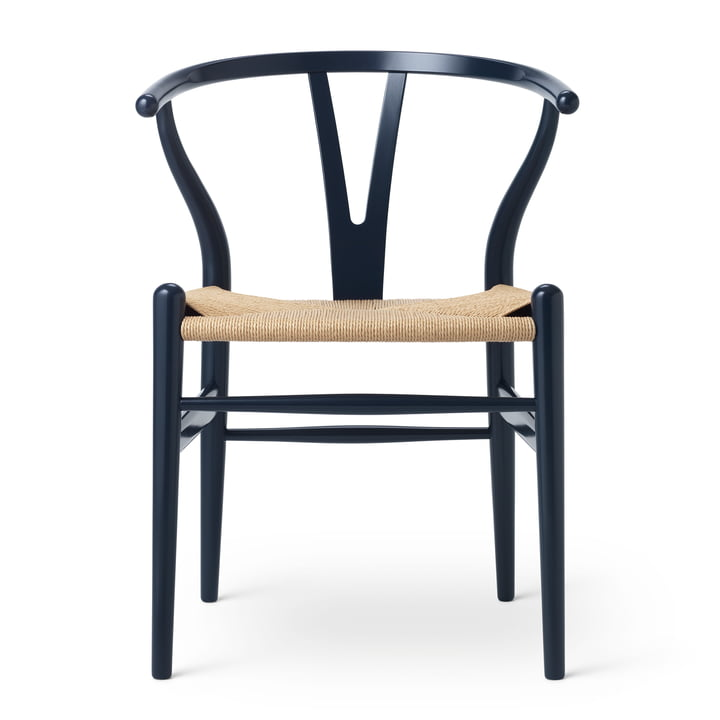 CH24 Wishbone Chair von Carl Hansen in Buche Navy Blau / Naturgeflecht (Birthday Edition)