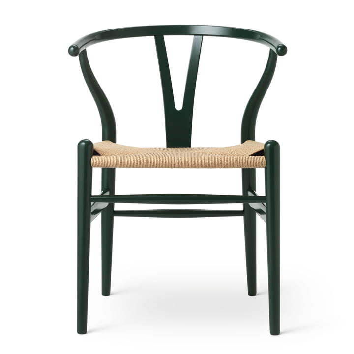 CH24 Wishbone Chair von Carl Hansen in Buche Forest Green / Naturgeflecht (Birthday Edition)