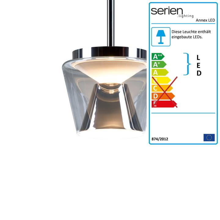 Annex LED-Pendelleuchte M von serien.lighting mit Glasschirm klar / Reflektor opal