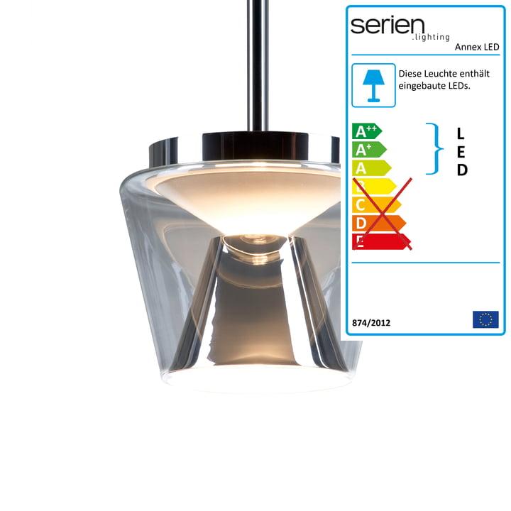 Annex LED-Pendelleuchte L von serien.lighting mit Glasschirm klar / Reflektor opal