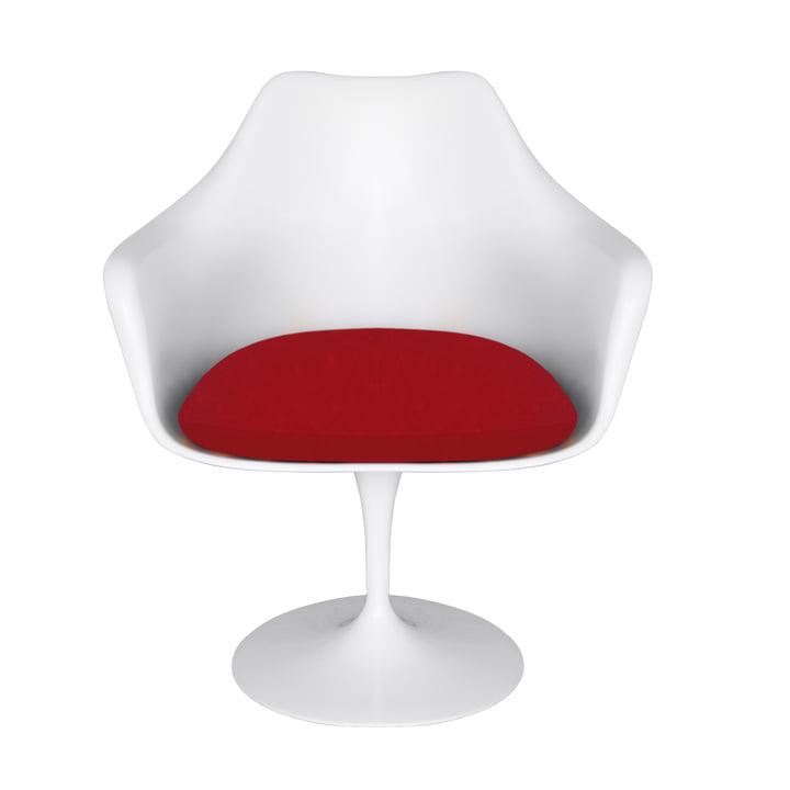 Saarinen Tulip Armlehnstuhl von Knoll - drehbar, weiß / bright red (Tonus 130)