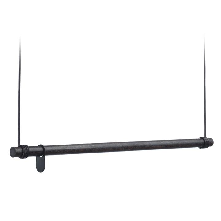 Swing Hängegarderobe von LindDNA - L (110 cm), Eiche schwarz / Leder schwarz