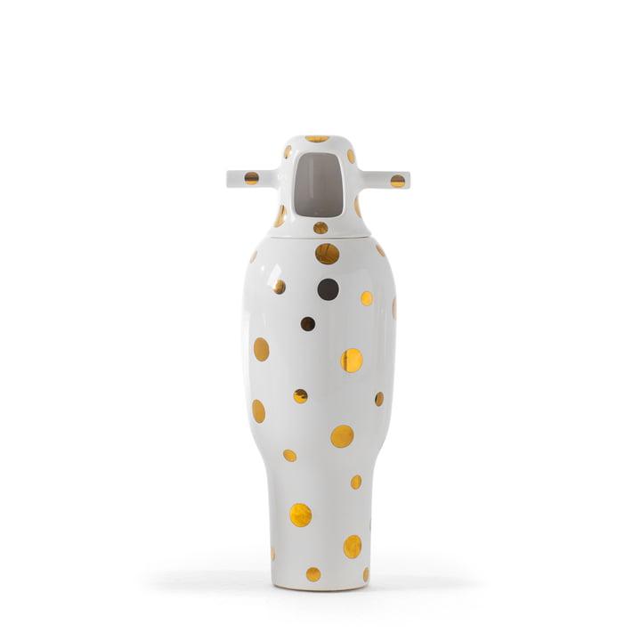 Showtime 10 Vase, Nº 4 von BD Barcelona in weiß mit goldenen Pünktchen