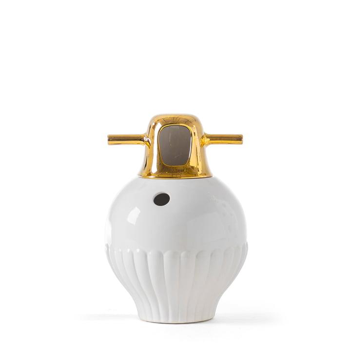 Showtime 10 Vase, Nº 3 von BD Barcelona in weiß / Deckel gold