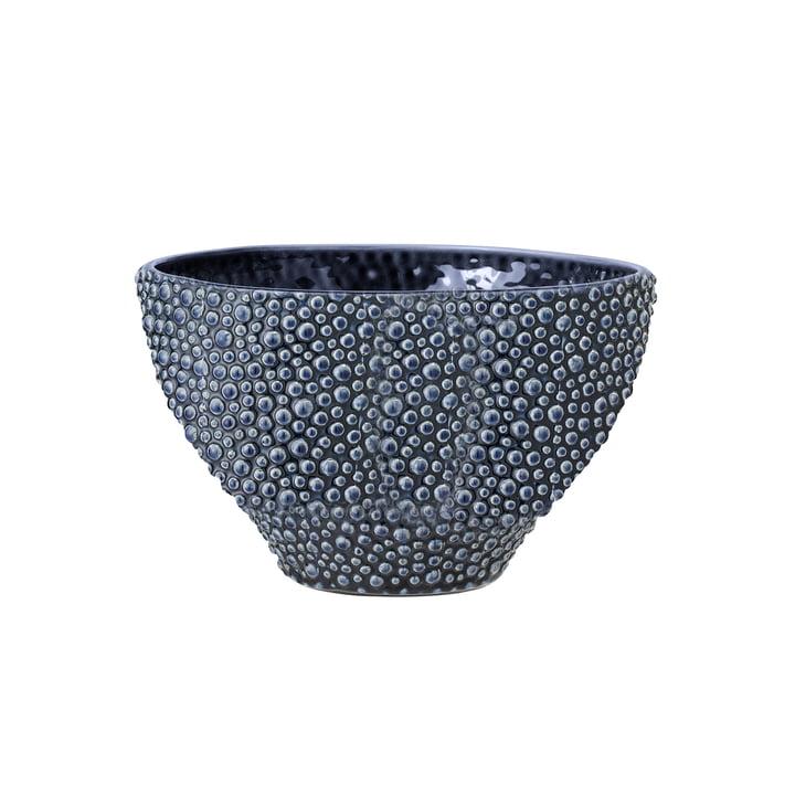 Blaue Steingut-Schale von Bloomingville, Ø 21,5 x H 13 cm