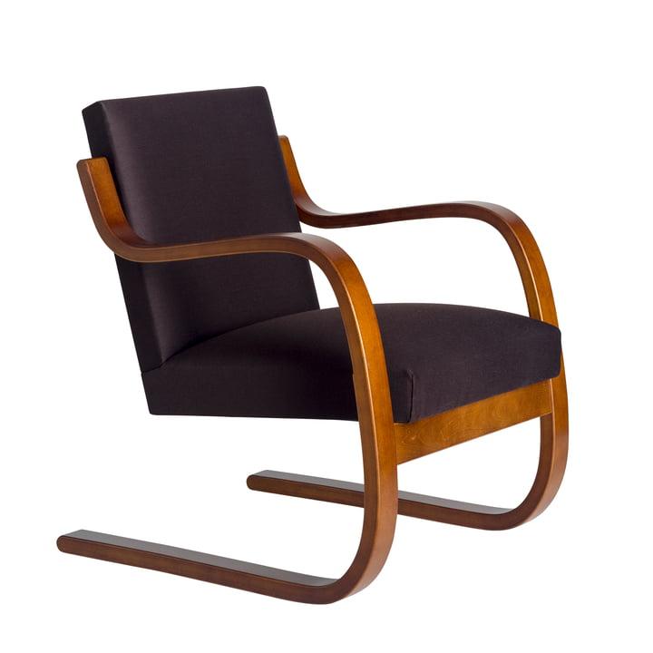 Sessel 402 von Artek in Walnuss / Leder schwarz (L1)