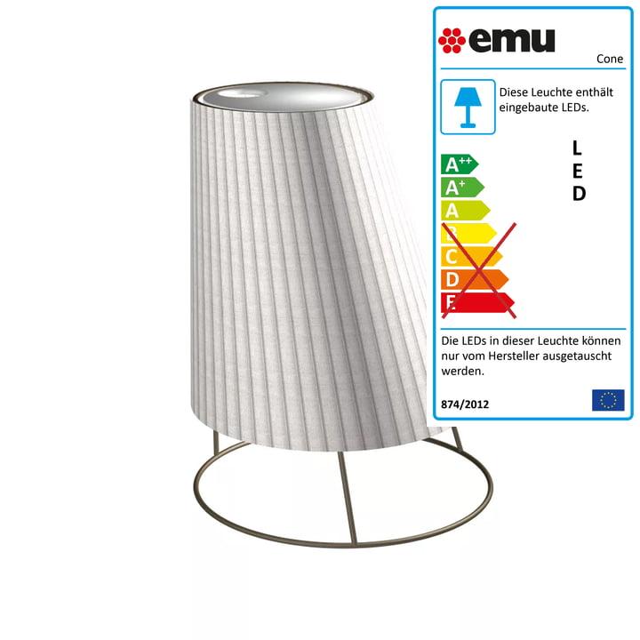 Cone Akku LED-Leuchte big H 60 cm von Emu in Cortenstahl weiß / Plissé