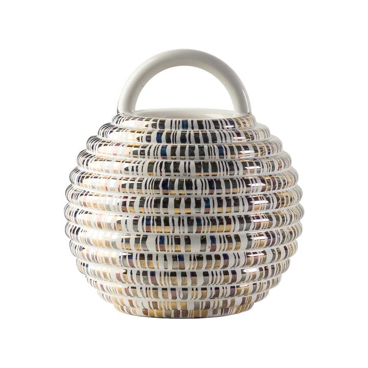 Grasso Vase einzeln von BD Barcelona in weiß mit Linien