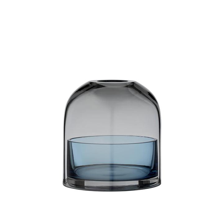 Tota Teelichthalter, Ø 9,3 x H 10,3 cm, schwarz / navy von AYTM