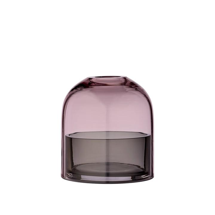 Tota Teelichthalter, Ø 9,3 x H 10,3 cm, schwarz / rose von AYTM