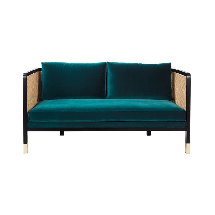 Wicker Sofa Velvet 160 von red edition in bleu canard (T24)