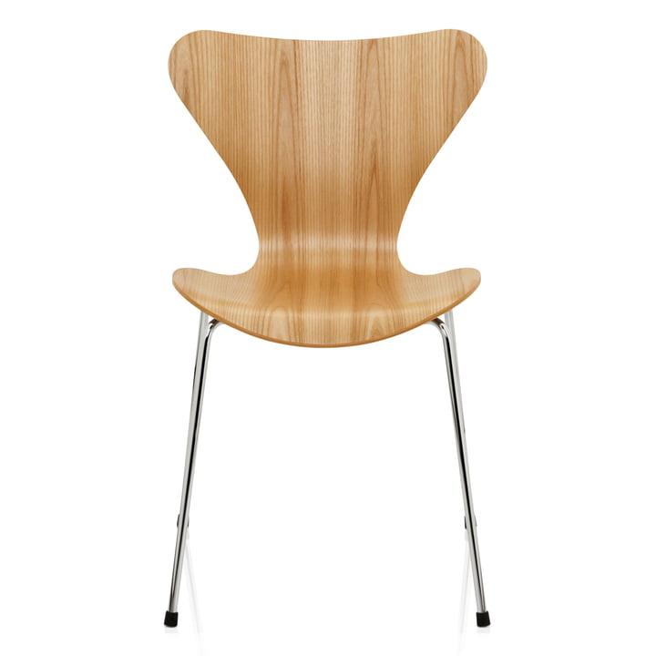 Serie 7 Stuhl (46,5 cm) von Fritz Hansen in Ulme Natur / verchromt
