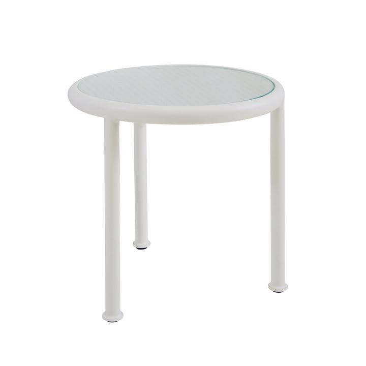 Dock Tisch rund H 50 Ø 48 cm von Emu in weiß / Glas gerastert