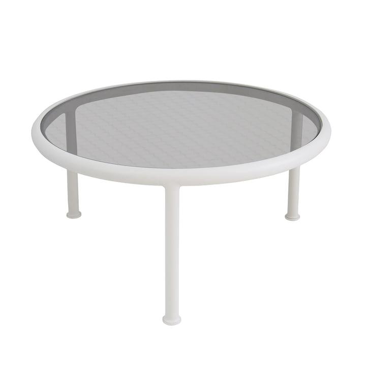 Dock Tisch rund H 40 Ø 80 cm von Emu in weiß / Glas gerastert