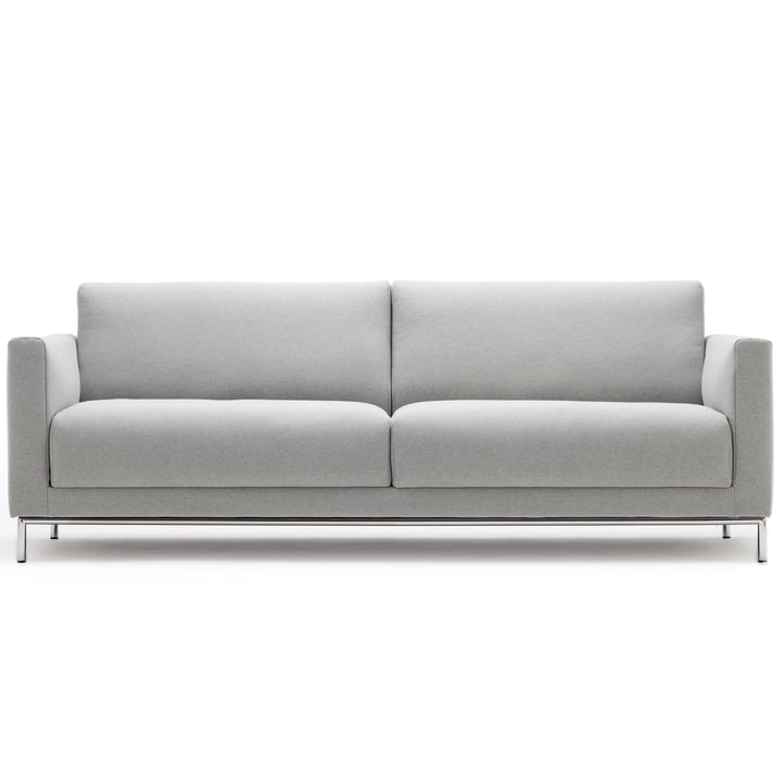 141 Sofa 3-Sitzer,Rundrohrrahmengestell Chrom glänzend, Seitenteil verstellbar schmal (ST-V-S) von freistil mit Bezug lichtgrau (3007)