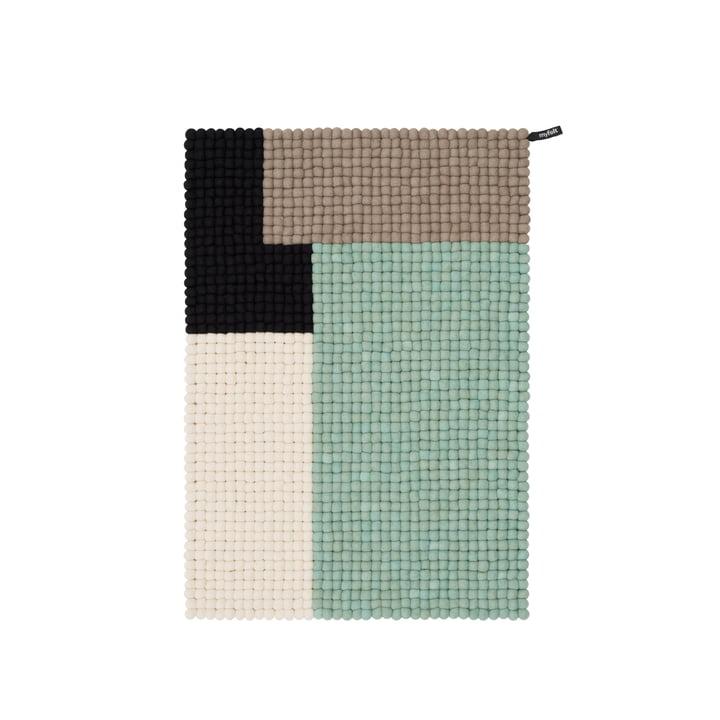 Cube Filzkugelteppich, 70 x 100 cm, mint / schwarz / weiß / braun von myfelt