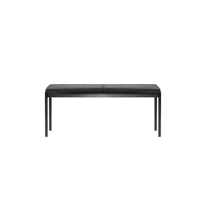 Mies Bank 110 cm, Untergestell in schwarz und Bezug in Leder schwarz von Million
