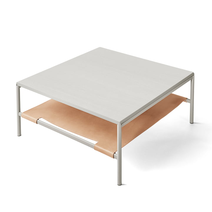Mies Lounge Table in grau / Esche grau / Leder natur von Million