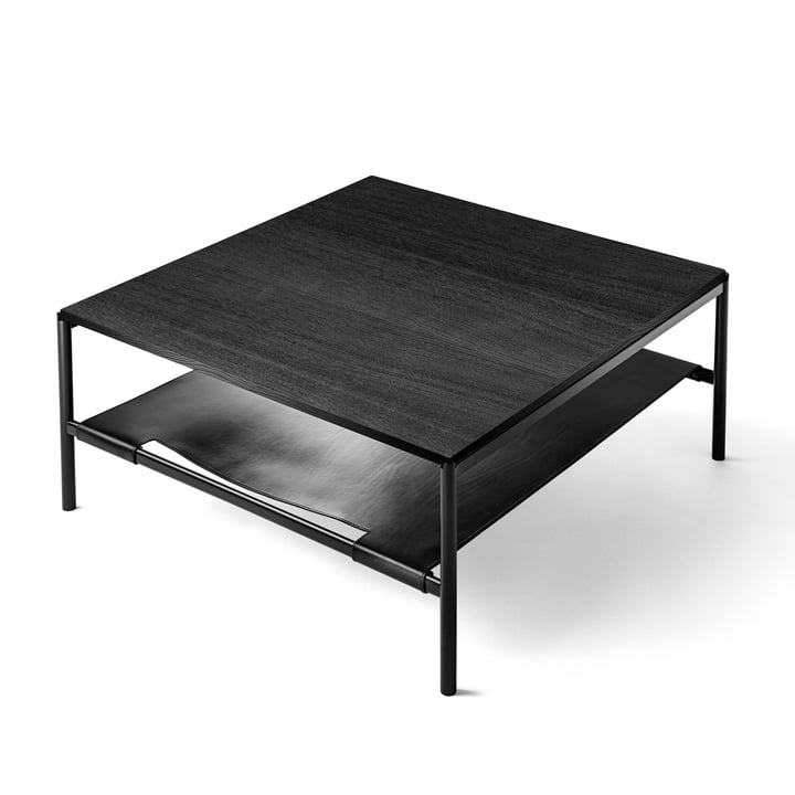 Mies Lounge Table in schwarz / Esche schwarz / Leder schwarz von Million