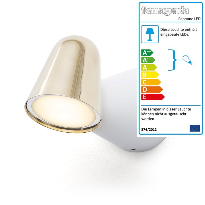 Peppone LED-Wandleuchte von Formagenda in weiß matt / Messing poliert