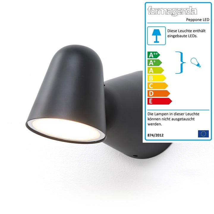 Peppone LED-Wandleuchte von Formagenda in schwarz matt