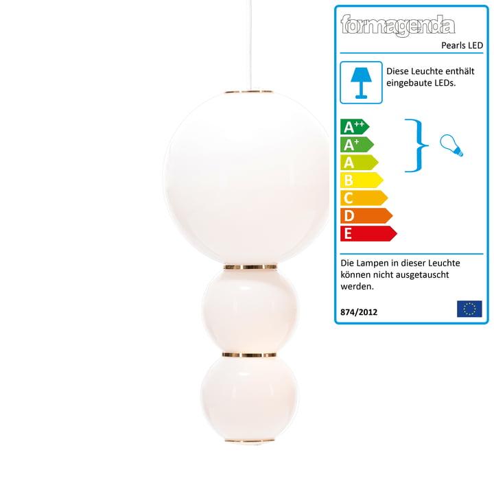Pearls LED-Pendelleuchte Version C von Formagenda in weiß / Gold