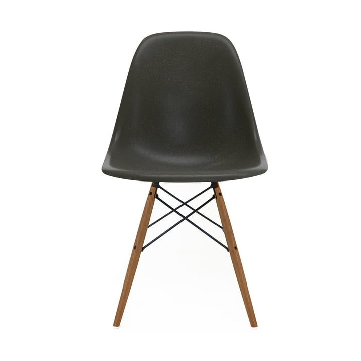 Eames Fiberglass Side Chair DSW von Vitra in Esche honigfarben / Eames elephant hide grey