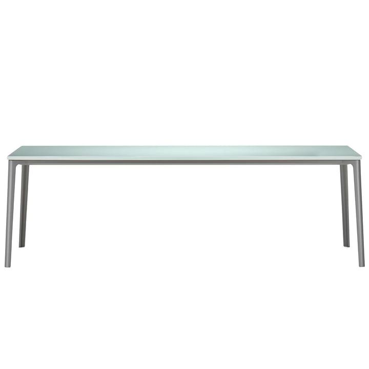 Vitra - Plate Dining Table, 220 x 100 cm, Tischplatte ESG-Floatglas satiniert / Untergestell erdgrau