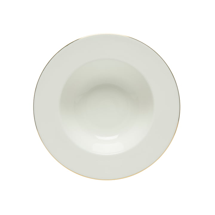 Oiva Tiefer Teller, Ø 20 cm, weiß mit Goldrand von Marimekko