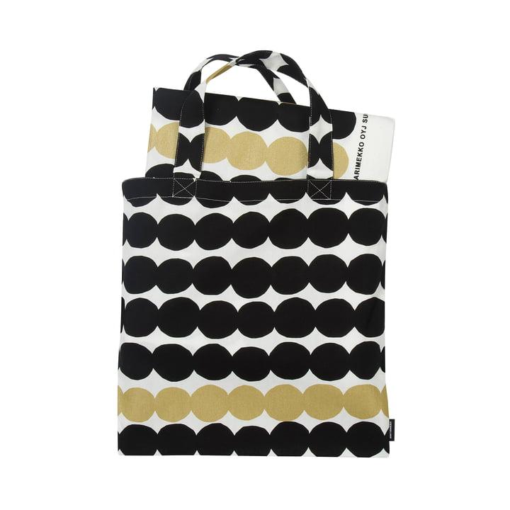 Räsymatto Tuch 145 x 240 cm + Tasche in schwarz / weiß / gold von Marimekko