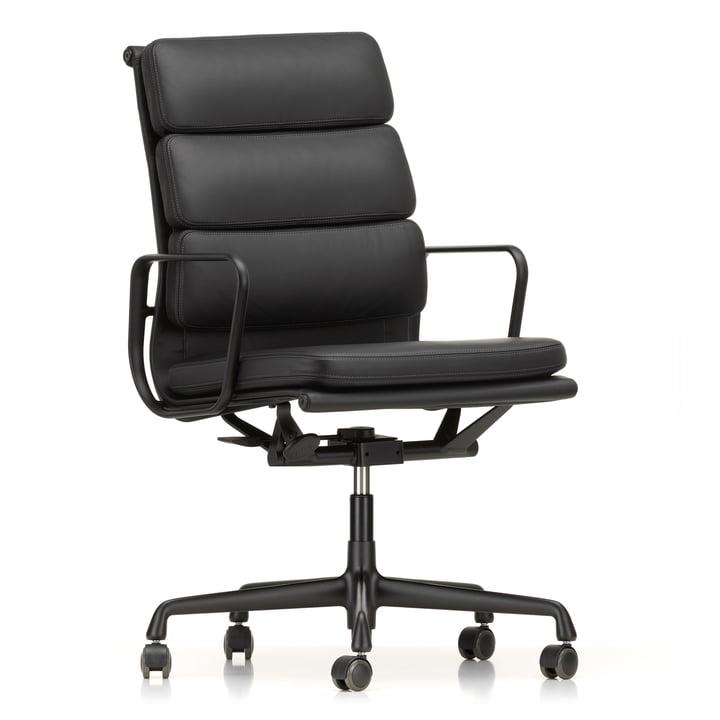 EA 219 Soft Pad Bürostuhl beschichtet tiefschwarz mit Armlehnen von Vitra mit Leder Premium nero (Hartbodenrollen)